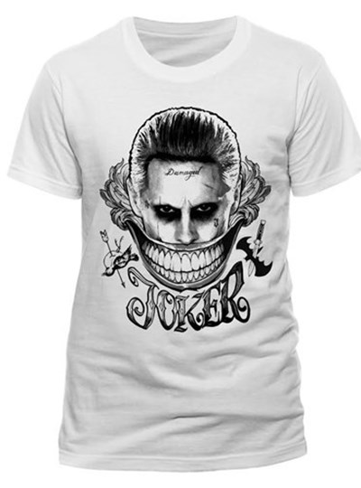 Suicide Squad Joker Face Mens T-Shirt: White